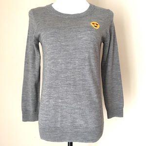 J CREW Tippi With Emoji Patch Merino Wool Sweater